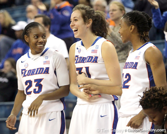 Florida freshman guard Brittany Shine, redshirt-freshman forward Lily Svete and junior guard Deana Allen laugh on the bench during the second half of the Gators' 70-64 win against the Alabama Crimson Tide on Thursday, January 27, 2011 at the Stephen C. O'Connell Center in Gainesville, Fla. / Gator Country photo by Tim Casey