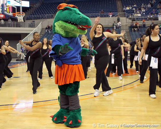 A Zumba show is performed during halftime of the Gators' 70-64 win against the Alabama Crimson Tide on Thursday, January 27, 2011 at the Stephen C. O'Connell Center in Gainesville, Fla. / Gator Country photo by Tim Casey