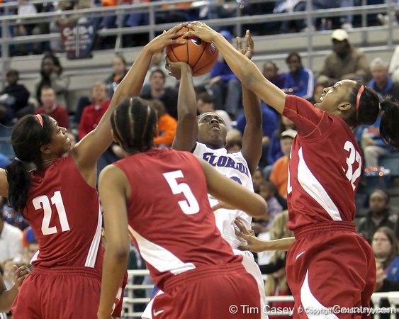 Florida freshman guard Jaterra Bonds's shot gets blocked during the first half of the Gators' 70-64 win against the Alabama Crimson Tide on Thursday, January 27, 2011 at the Stephen C. O'Connell Center in Gainesville, Fla. / Gator Country photo by Tim Casey
