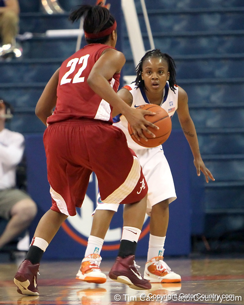 Florida junior guard Lanita Bartley defends the ball during the second half of the Gators' 70-64 win against the Alabama Crimson Tide on Thursday, January 27, 2011 at the Stephen C. O'Connell Center in Gainesville, Fla. / Gator Country photo by Tim Casey