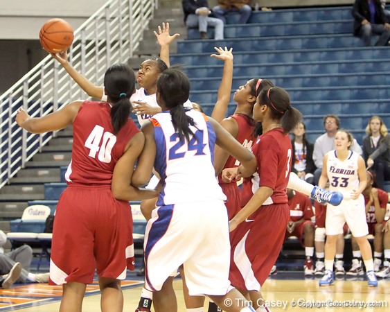 Florida freshman guard Brittany Shine shoots a layup during the first half of the Gators' 70-64 win against the Alabama Crimson Tide on Thursday, January 27, 2011 at the Stephen C. O'Connell Center in Gainesville, Fla. / Gator Country photo by Tim Casey