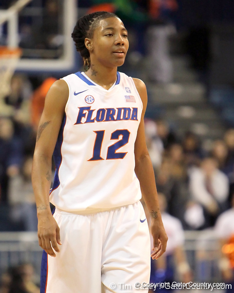 Florida junior guard Deana Allen gets in position during the first half of the Gators' 70-64 win against the Alabama Crimson Tide on Thursday, January 27, 2011 at the Stephen C. O'Connell Center in Gainesville, Fla. / Gator Country photo by Tim Casey