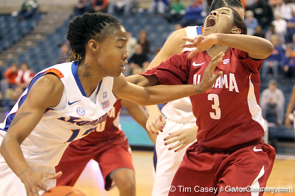 Florida junior guard Deana Allen commits an offensive foul during the second half of the Gators' 70-64 win against the Alabama Crimson Tide on Thursday, January 27, 2011 at the Stephen C. O'Connell Center in Gainesville, Fla. / Gator Country photo by Tim Casey