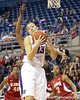 Florida junior center Azania Stewart grabs an offensive rebound during the first half of the Gators' 70-64 win against the Alabama Crimson Tide on Thursday, January 27, 2011 at the Stephen C. O'Connell Center in Gainesville, Fla. / Gator Country photo by Tim Casey