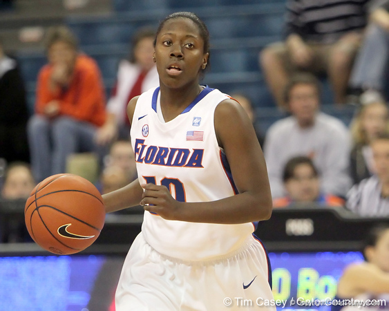 Florida freshman guard Jaterra Bonds dribbles the ball during the second half of the Gators' 70-64 win against the Alabama Crimson Tide on Thursday, January 27, 2011 at the Stephen C. O'Connell Center in Gainesville, Fla. / Gator Country photo by Tim Casey