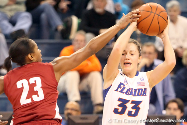 Florida redshirt-junior Jordan Jones controls the ball during the first half of the Gators' 70-64 win against the Alabama Crimson Tide on Thursday, January 27, 2011 at the Stephen C. O'Connell Center in Gainesville, Fla. / Gator Country photo by Tim Casey