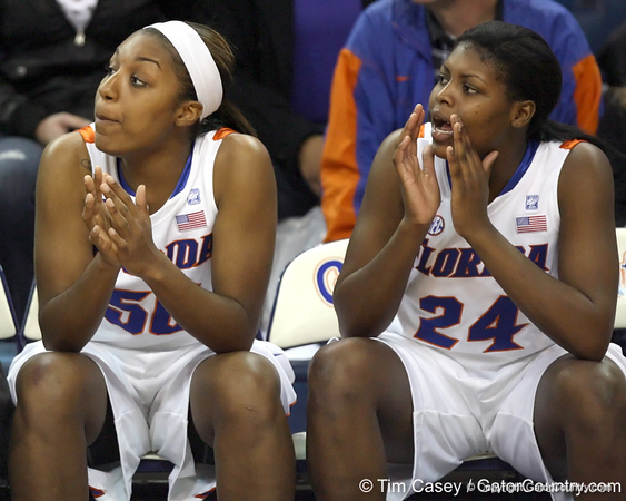 Florida senior center Ebonie Crawford and freshman forward Deaundra Young cheer during the second half of the Gators' 70-64 win against the Alabama Crimson Tide on Thursday, January 27, 2011 at the Stephen C. O'Connell Center in Gainesville, Fla. / Gator Country photo by Tim Casey