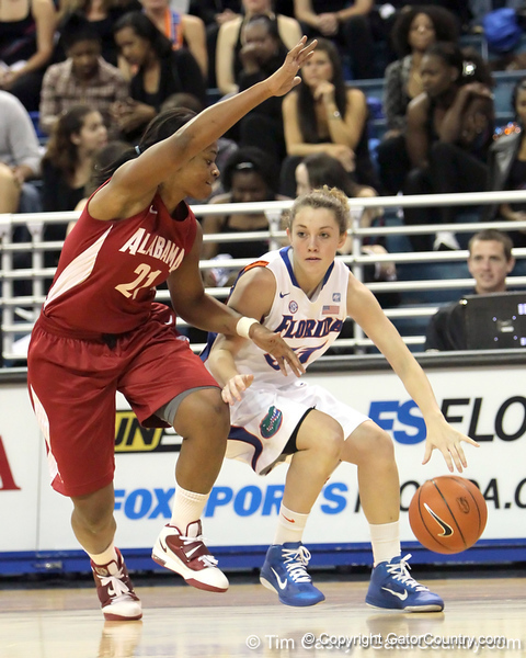 Florida redshirt-junior Jordan Jones dribbles in the corner during the first half of the Gators' 70-64 win against the Alabama Crimson Tide on Thursday, January 27, 2011 at the Stephen C. O'Connell Center in Gainesville, Fla. / Gator Country photo by Tim Casey