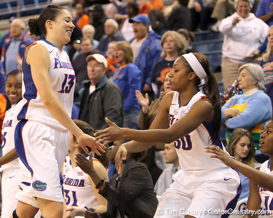 Florida junior center Azania Stewart celebrates with teammates during the second half of the Gators' 70-64 win against the Alabama Crimson Tide on Thursday, January 27, 2011 at the Stephen C. O'Connell Center in Gainesville, Fla. / Gator Country photo by Tim Casey