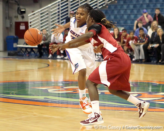 Florida junior guard Lanita Bartley has the ball stolen from her during the second half of the Gators' 70-64 win against the Alabama Crimson Tide on Thursday, January 27, 2011 at the Stephen C. O'Connell Center in Gainesville, Fla. / Gator Country photo by Tim Casey