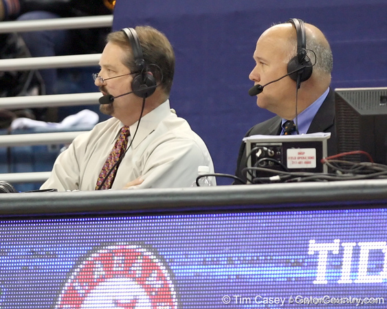Mark Wise and Mick Hubert call the television broadcast during the first half of the Gators' 70-64 win against the Alabama Crimson Tide on Thursday, January 27, 2011 at the Stephen C. O'Connell Center in Gainesville, Fla. / Gator Country photo by Tim Casey