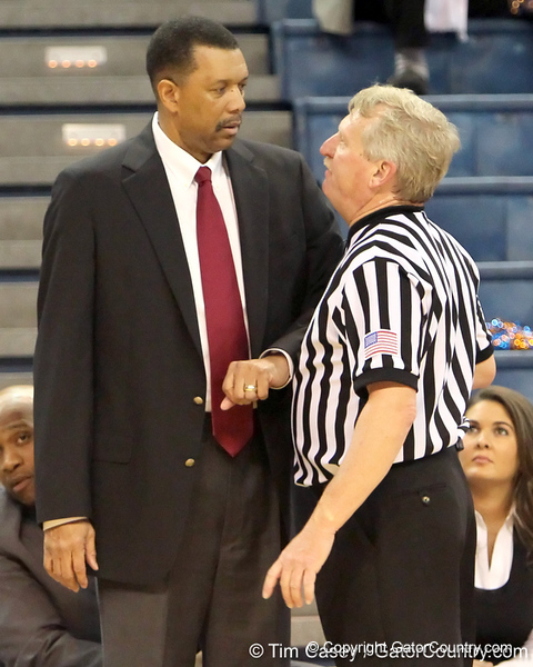 Alabama coach Wendell Hudson talks with a referee during the first half of the Gators' 70-64 win against the Crimson Tide on Thursday, January 27, 2011 at the Stephen C. O'Connell Center in Gainesville, Fla. / Gator Country photo by Tim Casey