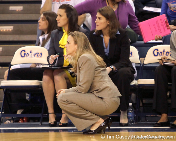 Florida head coach Amanda Butler looks on during the second half of the Gators' 70-64 win against the Alabama Crimson Tide on Thursday, January 27, 2011 at the Stephen C. O'Connell Center in Gainesville, Fla. / Gator Country photo by Tim Casey
