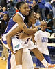 Florida junior guard Lanita Bartley carries junior guard Deana Allen off of the court after the Gators' 70-64 win against the Alabama Crimson Tide on Thursday, January 27, 2011 at the Stephen C. O'Connell Center in Gainesville, Fla. / Gator Country photo by Tim Casey