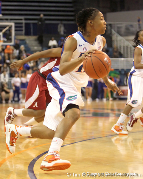 Florida junior guard Deana Allen dribbles to the basket during the first half of the Gators' 70-64 win against the Alabama Crimson Tide on Thursday, January 27, 2011 at the Stephen C. O'Connell Center in Gainesville, Fla. / Gator Country photo by Tim Casey