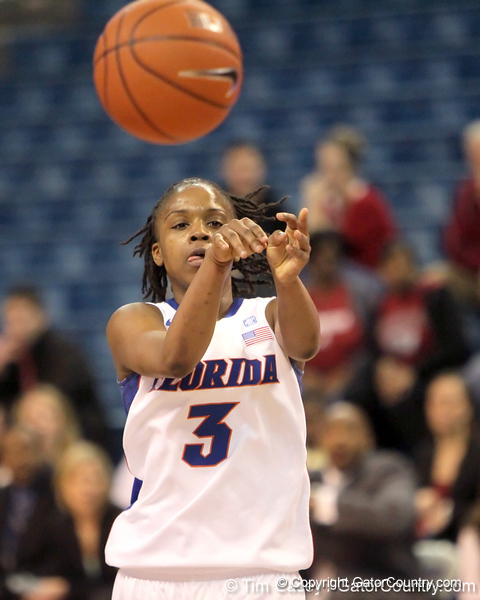 Florida junior guard Lanita Bartley passes during the second half of the Gators' 70-64 win against the Alabama Crimson Tide on Thursday, January 27, 2011 at the Stephen C. O'Connell Center in Gainesville, Fla. / Gator Country photo by Tim Casey