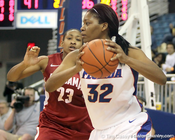 Florida sophomore forward Jennifer George controls the ball during the second half of the Gators' 70-64 win against the Alabama Crimson Tide on Thursday, January 27, 2011 at the Stephen C. O'Connell Center in Gainesville, Fla. / Gator Country photo by Tim Casey