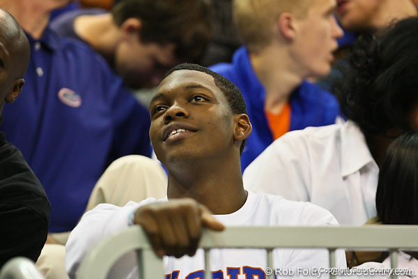 during the Gators' 114-57 win over the Catholic Cardinals on Thursday, November 3, 2011 at the Steven C. O'Connell Center in Gainesville, Fla./Gator Country photo by Rob Foldy