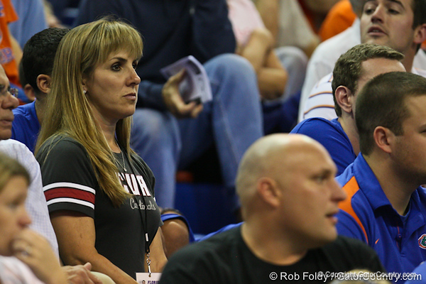 Florida head coach Billy Donovan's wife, Christine, during the Gators' 114-57 win over the Catholic Cardinals on Thursday, November 3, 2011 at the Steven C. O'Connell Center in Gainesville, Fla./Gator Country photo by Rob Foldy