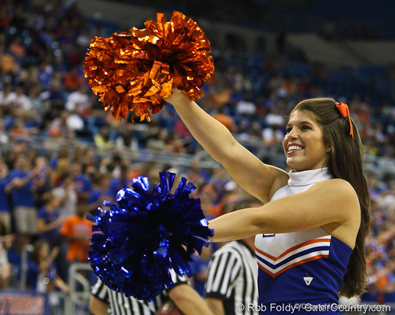Florida cheerleaders during the Gators' 114-57 win over the Catholic Cardinals on Thursday, November 3rd, 2011 at the Steven C. O'Connell Center in Gainesville, Fla./Gator Country photo by Rob Foldy