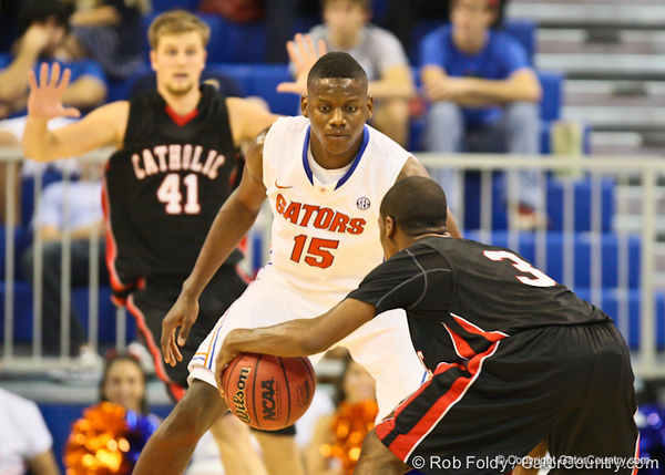 Florida sophomore forward Will Yeguete during the Gators' 114-57 win over the Catholic Cardinals on Thursday, November 3, 2011 at the Steven C. O'Connell Center in Gainesville, Fla./Gator Country photo by Rob Foldy