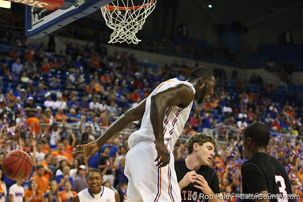 Florida sophomore center Patric Young during the Gators' 114-57 win over the Catholic Cardinals on Thursday, November 3rd, 2011 at the Steven C. O'Connell Center in Gainesville, Fla./Gator Country photo by Rob Foldy
