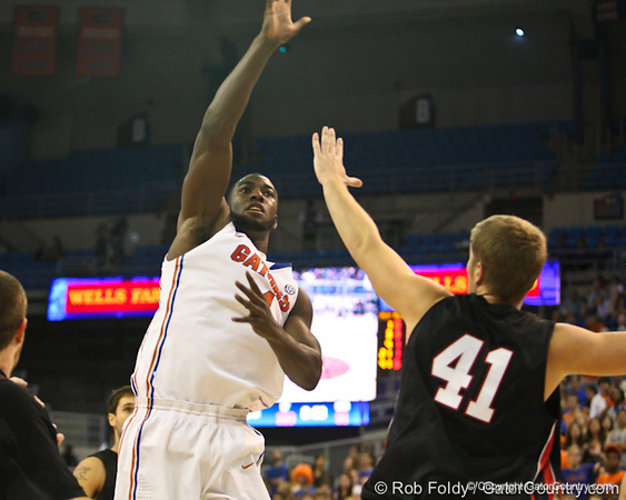 Florida sophomore center Patric Young during the Gators' 114-57 win over the Catholic Cardinals on Thursday, November 3, 2011 at the Steven C. O'Connell Center in Gainesville, Fla./Gator Country photo by Rob Foldy
