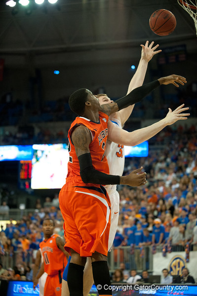 Florida junior forward Erik Murphy lays in 2 points during the Gators' 63-47 win against the Auburn Tigers on Tuesday, February 21, 2012 at the Stephen C. O'Connell Center in Gainesville, Fla. / Gator Country photo by Saj Guevara