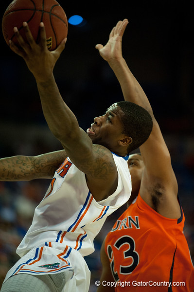 Florida junior guard Kenny Boynton lays during the Gators' 63-47 win against the Auburn Tigers on Tuesday, February 21, 2012 at the Stephen C. O'Connell Center in Gainesville, Fla. / Gator Country photo by Saj Guevara
