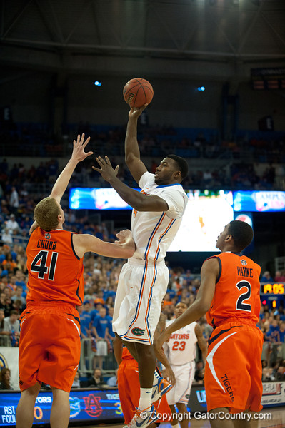 Florida sophomore center Patric Young with a jump shot during the Gators' 63-47 win against the Auburn Tigers on Tuesday, February 21, 2012 at the Stephen C. O'Connell Center in Gainesville, Fla. / Gator Country photo by Saj Guevara