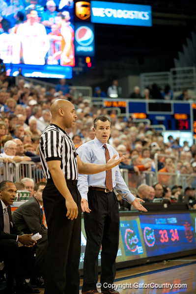Florida coach Billy Donovan arguing with the call during the Gators' 63-47 win against the Auburn Tigers on Tuesday, February 21, 2012 at the Stephen C. O'Connell Center in Gainesville, Fla. / Gator Country photo by Saj Guevara