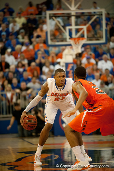 Florida freshman guard Bradley Beal guarded as he crosses the mid court during the Gators' 63-47 win against the Auburn Tigers on Tuesday, February 21, 2012 at the Stephen C. O'Connell Center in Gainesville, Fla. / Gator Country photo by Saj Guevara