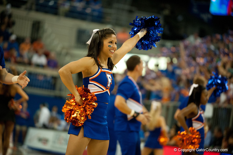 Florida Cheerleaders cheer on the crowd during the Gators' 63-47 win against the Auburn Tigers on Tuesday, February 21, 2012 at the Stephen C. O'Connell Center in Gainesville, Fla. / Gator Country photo by Saj Guevara