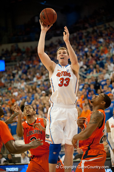 Florida junior forward Erik Murphy shoots during the Gators' 63-47 win against the Auburn Tigers on Tuesday, February 21, 2012 at the Stephen C. O'Connell Center in Gainesville, Fla. / Gator Country photo by Saj Guevara