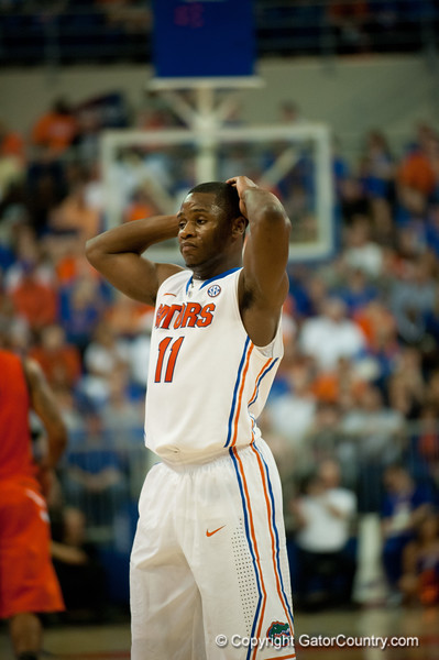 Florida senior guard Erving Walker unhappy with a call during the Gators' 63-47 win against the Auburn Tigers on Tuesday, February 21, 2012 at the Stephen C. O'Connell Center in Gainesville, Fla. / Gator Country photo by Saj Guevara
