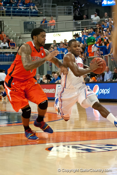 Florida senior guard Erving Walker drives during the Gators' 63-47 win against the Auburn Tigers on Tuesday, February 21, 2012 at the Stephen C. O'Connell Center in Gainesville, Fla. / Gator Country photo by Saj Guevara