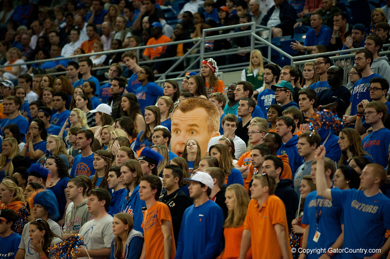 Florida students unhappy with a call during the Gators' 63-47 win against the Auburn Tigers on Tuesday, February 21, 2012 at the Stephen C. O'Connell Center in Gainesville, Fla. / Gator Country photo by Saj Guevara