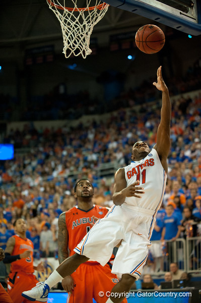 Florida senior guard Erving Walker lays in 2 points during the Gators' 63-47 win against the Auburn Tigers on Tuesday, February 21, 2012 at the Stephen C. O'Connell Center in Gainesville, Fla. / Gator Country photo by Saj Guevara