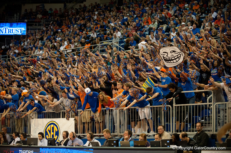 Florida students worshiping Kenny Boynton on his 3 points the Gators' 63-47 win against the Auburn Tigers on Tuesday, February 21, 2012 at the Stephen C. O'Connell Center in Gainesville, Fla. / Gator Country photo by Saj Guevara
