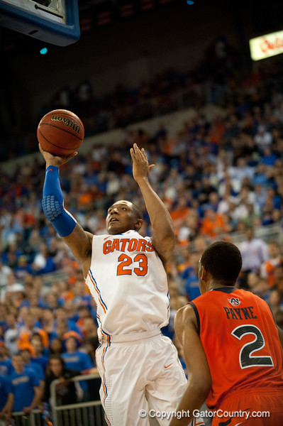 Florida freshman guard Bradley Beal shoots for 2 points during the Gators' 63-47 win against the Auburn Tigers on Tuesday, February 21, 2012 at the Stephen C. O'Connell Center in Gainesville, Fla. / Gator Country photo by Saj Guevara