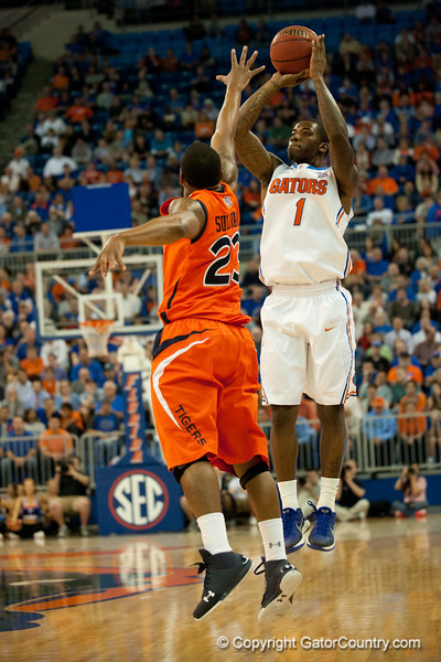 Florida junior guard Kenny Boynton sinks one of his six three-pointers during the Gators' 63-47 win against the Auburn Tigers on Tuesday, February 21, 2012 at the Stephen C. O'Connell Center in Gainesville, Fla. / Gator Country photo by Saj Guevara