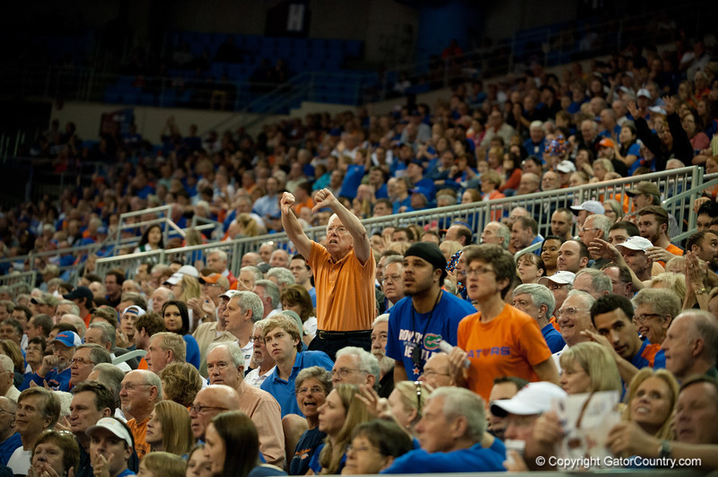 Florida alumni unhappy with a call during the Gators' 63-47 win against the Auburn Tigers on Tuesday, February 21, 2012 at the Stephen C. O'Connell Center in Gainesville, Fla. / Gator Country photo by Saj Guevara