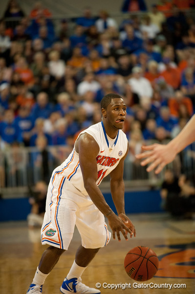 Florida senior guard Erving Walker shows off his tongue bedore pasing during the Gators' 63-47 win against the Auburn Tigers on Tuesday, February 21, 2012 at the Stephen C. O'Connell Center in Gainesville, Fla. / Gator Country photo by Saj Guevara