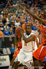 Florida senior guard Erving Walker ready to pass during the Gators' 63-47 win against the Auburn Tigers on Tuesday, February 21, 2012 at the Stephen C. O'Connell Center in Gainesville, Fla. / Gator Country photo by Saj Guevara