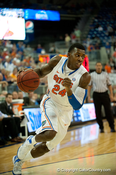 Florida sophomore forward Casey Prather drives during the Gators' 63-47 win against the Auburn Tigers on Tuesday, February 21, 2012 at the Stephen C. O'Connell Center in Gainesville, Fla. / Gator Country photo by Saj Guevara