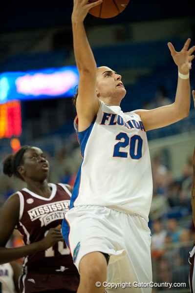 Florida freshman guard/forward Andrea Vilaró Aragonés with a layup during the Gators' 79-45 win against the Mississippi St. Bulldogs on Thursday, February 23, 2012 at the Stephen C. O'Connell Center in Gainesville, Fla. / Gator Country photo by Saj Guevara