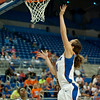 Florida red shirt sophomore forward Lily Svete with a layup during the Gators' 79-45 win against the Mississippi St. Bulldogs on Thursday, February 23, 2012 at the Stephen C. O'Connell Center in Gainesville, Fla. / Gator Country photo by Saj Guevara