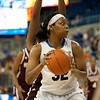 Florida junior forward Jennifer George on a post up during the Gators' 79-45 win against the Mississippi St. Bulldogs on Thursday, February 23, 2012 at the Stephen C. O'Connell Center in Gainesville, Fla. / Gator Country photo by Saj Guevara