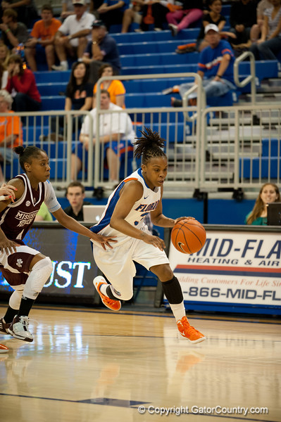 Florida senior guard Lanita Bartley drives to the basket during the Gators' 79-45 win against the Mississippi St. Bulldogs on Thursday, February 23, 2012 at the Stephen C. O'Connell Center in Gainesville, Fla. / Gator Country photo by Saj Guevara