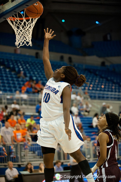 Florida sophomore guard Jaterra Bonds with a layup during the Gators' 79-45 win against the Mississippi St. Bulldogs on Thursday, February 23, 2012 at the Stephen C. O'Connell Center in Gainesville, Fla. / Gator Country photo by Saj Guevara